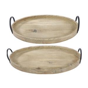 סט 2 יחידות מגש עץ אובלי