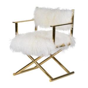 כיסא פרווה מגנוליה מקורית רגל זהב