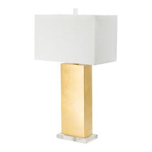 מנורת שולחן זהב מברזל מעמד קריסטל גדול